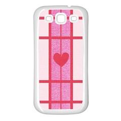 Fabric Magenta Texture Textile Love Hearth Samsung Galaxy S3 Back Case (White)