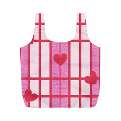 Fabric Magenta Texture Textile Love Hearth Full Print Recycle Bags (M)