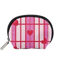 Fabric Magenta Texture Textile Love Hearth Accessory Pouches (Small)
