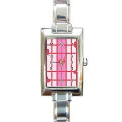 Fabric Magenta Texture Textile Love Hearth Rectangle Italian Charm Watch