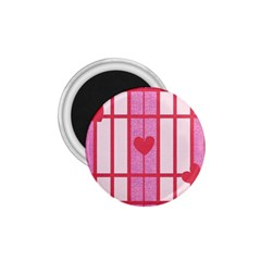 Fabric Magenta Texture Textile Love Hearth 1.75  Magnets