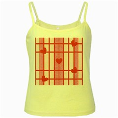 Fabric Magenta Texture Textile Love Hearth Yellow Spaghetti Tank