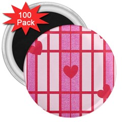 Fabric Magenta Texture Textile Love Hearth 3  Magnets (100 pack)