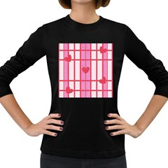 Fabric Magenta Texture Textile Love Hearth Women s Long Sleeve Dark T-Shirts