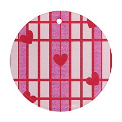 Fabric Magenta Texture Textile Love Hearth Round Ornament (Two Sides)