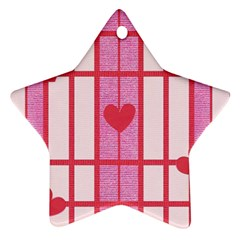 Fabric Magenta Texture Textile Love Hearth Star Ornament (Two Sides)