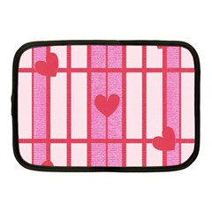 Fabric Magenta Texture Textile Love Hearth Netbook Case (Medium)
