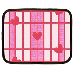 Fabric Magenta Texture Textile Love Hearth Netbook Case (Large)