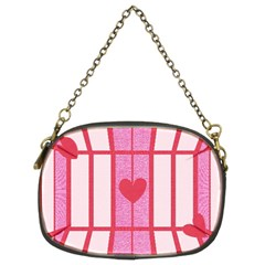 Fabric Magenta Texture Textile Love Hearth Chain Purses (Two Sides)