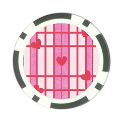 Fabric Magenta Texture Textile Love Hearth Poker Chip Card Guards (10 pack)