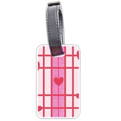 Fabric Magenta Texture Textile Love Hearth Luggage Tags (One Side)