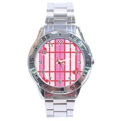 Fabric Magenta Texture Textile Love Hearth Stainless Steel Analogue Watch