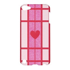 Fabric Magenta Texture Textile Love Hearth Apple iPod Touch 5 Hardshell Case