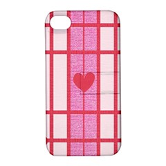 Fabric Magenta Texture Textile Love Hearth Apple iPhone 4/4S Hardshell Case with Stand