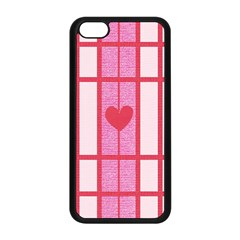 Fabric Magenta Texture Textile Love Hearth Apple iPhone 5C Seamless Case (Black)