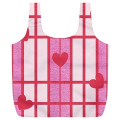Fabric Magenta Texture Textile Love Hearth Full Print Recycle Bags (L)