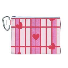 Fabric Magenta Texture Textile Love Hearth Canvas Cosmetic Bag (L)