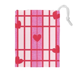 Fabric Magenta Texture Textile Love Hearth Drawstring Pouches (Extra Large)