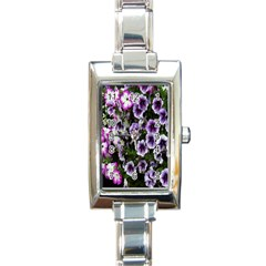 Flowers Blossom Bloom Plant Nature Rectangle Italian Charm Watch