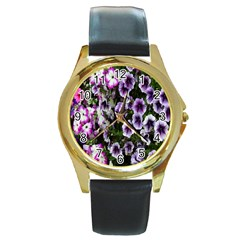 Flowers Blossom Bloom Plant Nature Round Gold Metal Watch