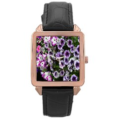 Flowers Blossom Bloom Plant Nature Rose Gold Leather Watch