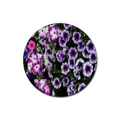 Flowers Blossom Bloom Plant Nature Rubber Round Coaster (4 pack)