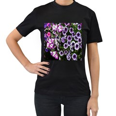 Flowers Blossom Bloom Plant Nature Women s T-Shirt (Black) (Two Sided)