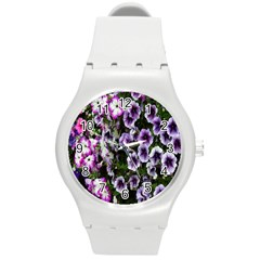 Flowers Blossom Bloom Plant Nature Round Plastic Sport Watch (M)