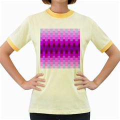 Geometric Cubes Pink Purple Blue Women s Fitted Ringer T-Shirts