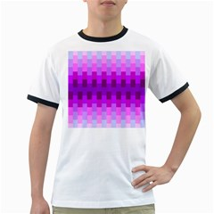 Geometric Cubes Pink Purple Blue Ringer T-Shirts