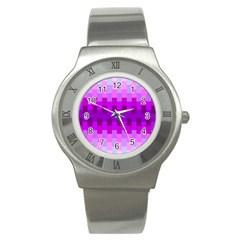 Geometric Cubes Pink Purple Blue Stainless Steel Watch