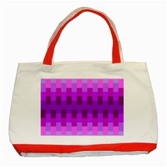 Geometric Cubes Pink Purple Blue Classic Tote Bag (Red)