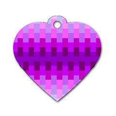 Geometric Cubes Pink Purple Blue Dog Tag Heart (Two Sides)