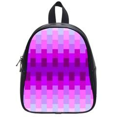 Geometric Cubes Pink Purple Blue School Bags (Small)