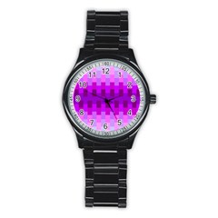 Geometric Cubes Pink Purple Blue Stainless Steel Round Watch
