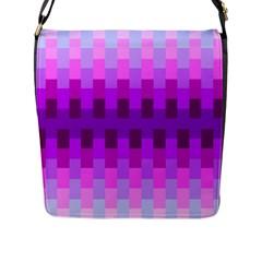 Geometric Cubes Pink Purple Blue Flap Messenger Bag (L)