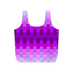 Geometric Cubes Pink Purple Blue Full Print Recycle Bags (S)