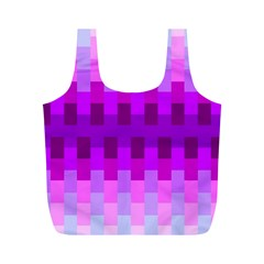 Geometric Cubes Pink Purple Blue Full Print Recycle Bags (M)