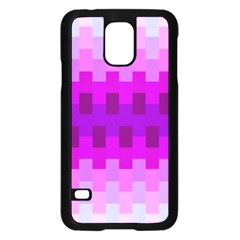 Geometric Cubes Pink Purple Blue Samsung Galaxy S5 Case (Black)