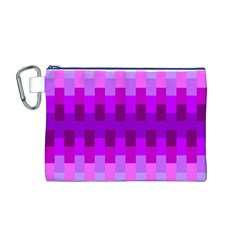 Geometric Cubes Pink Purple Blue Canvas Cosmetic Bag (M)