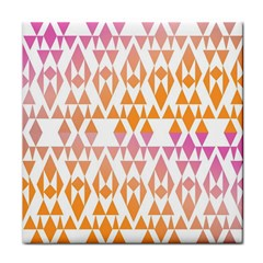 Geometric Abstract Orange Purple Pattern Tile Coasters