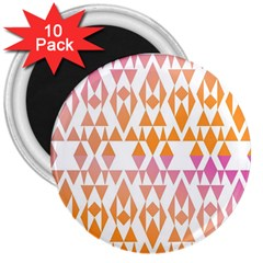 Geometric Abstract Orange Purple Pattern 3  Magnets (10 pack)