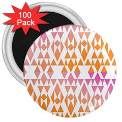 Geometric Abstract Orange Purple Pattern 3  Magnets (100 pack)