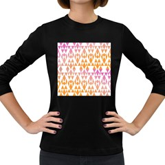 Geometric Abstract Orange Purple Pattern Women s Long Sleeve Dark T-Shirts