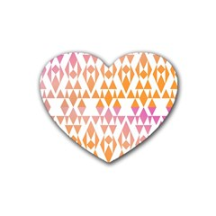 Geometric Abstract Orange Purple Pattern Rubber Coaster (Heart)