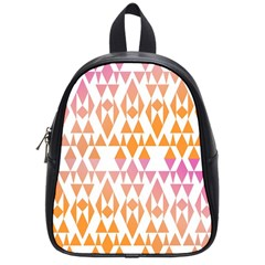 Geometric Abstract Orange Purple Pattern School Bags (Small)