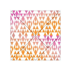 Geometric Abstract Orange Purple Pattern Acrylic Tangram Puzzle (4  x 4 )
