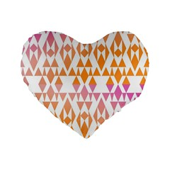 Geometric Abstract Orange Purple Pattern Standard 16  Premium Heart Shape Cushions