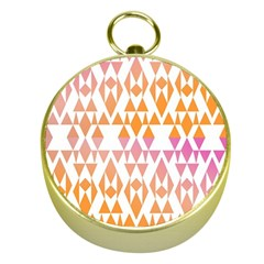 Geometric Abstract Orange Purple Pattern Gold Compasses