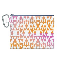 Geometric Abstract Orange Purple Pattern Canvas Cosmetic Bag (L)